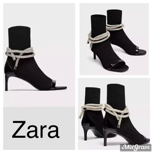 ZARA Black Open Toe Jeweled Cord Sock Bootie Sz 37